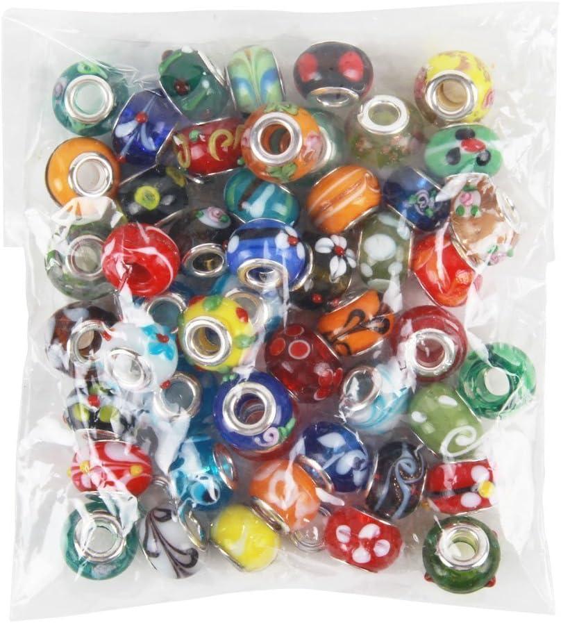 NiceButy - Lote de 50 cuentas de cristal de Murano de cristal mezclado europeo, compatible con la mayoría de las pulseras de abalorios principales