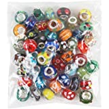 NYKKOLA 50 Piece Lot Lampwork Murano Glass European Mix Beads- Compatible with Most Major Charm Bracelets