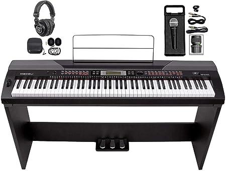 MEDELI SP4200 Piano de escenario digital de 88 teclas + soporte + pedales de sostenido + audífonos + micrófono
