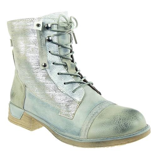 Angkorly Damen Schuhe Stiefeletten Combat Boots Biker