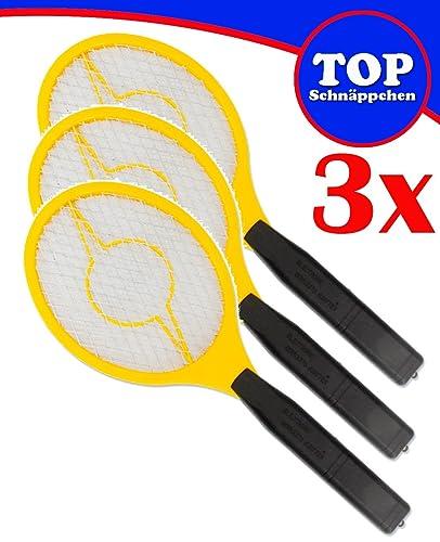 Trango Conjunto de 3 Flyswatter 3TG-FL2004 I Gnat catcher I Fruit fly catcher: funciona con 2 pilas AA de 1,5 voltios.