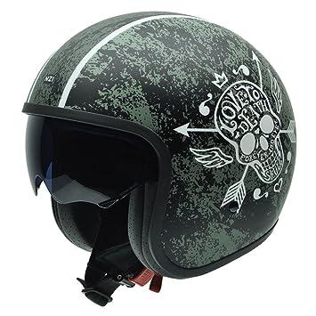 NZI 050287G745 Rolling Love to Death Casco de Moto, Fondo Verde Envejecido y Calavera,