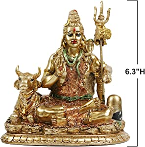 """Lord Shiva Statue with Nandi - 6.3""""H Polystone Hindu God Shiva India Buddha for Home Temple and Mandir,Resin Indian Shiva Lingam Figurine for Home Decor,Wedding Décor and Return Gifts,Diwali Gifts"""