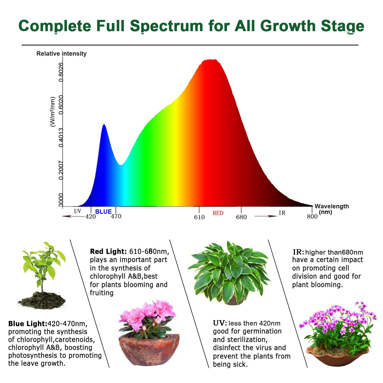 YGROW LED Grow Light Full Spectrum 600W,Reflector-Series Plant Grow Lights for Indoor Plants Veg and Flower with Heatproof Casing 3500K by YGROW (Image #2)