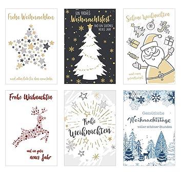 Weihnachtskarten Exklusiv.Set 6 Exklusive Premium Weihnachtskarten Mit Feiner Prägung Und Umschlag Doppelkarten Klappkarten Mit Briefumschlag Weihnachten Karte Postkarte