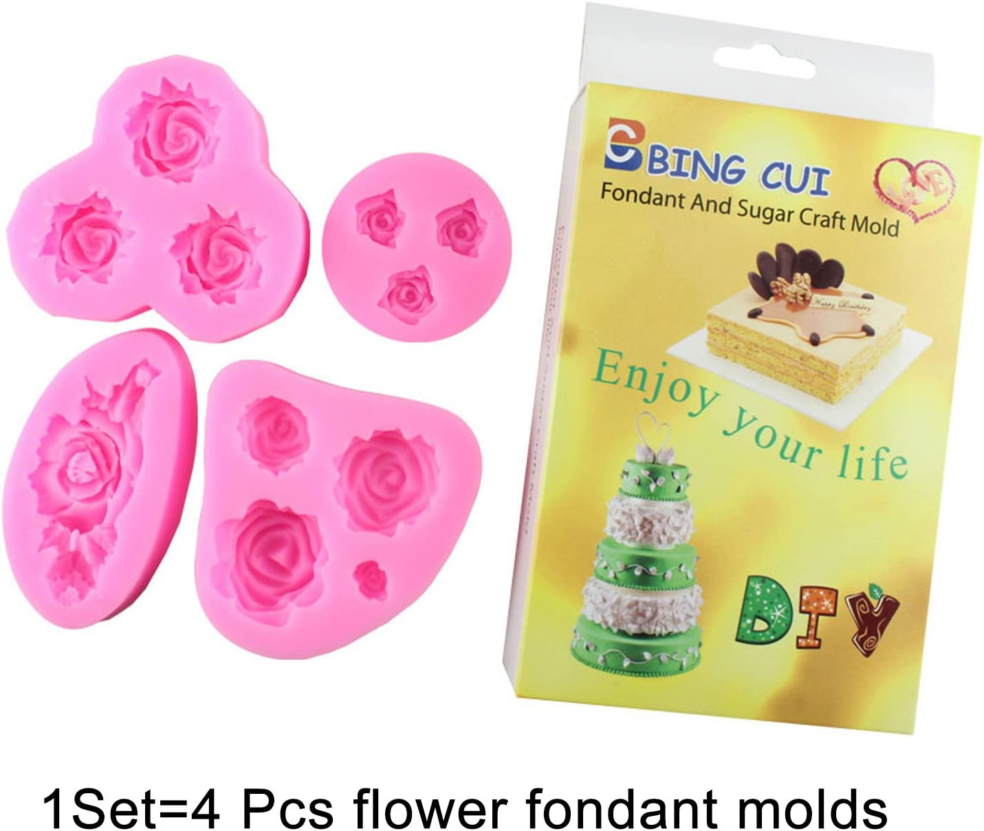 BINGCUI Cake Decorating Silicone Flower Molds Fondant Tools Sugarcraft Rose Candy Mold Set of 4 With Box