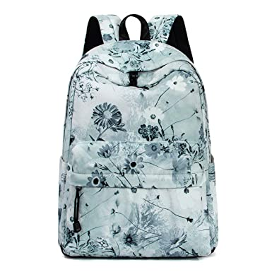 884010bac3a7 Leaper Floral Backpack School Bookbag Daypack Satchel Shoulder Bag Ash green