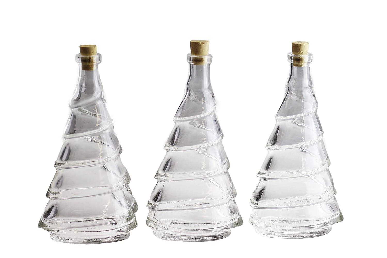 autooptimierer. de Premium bottiglie di vetro con tappo in sughero in abete albero Design I 3 pezzi bottiglia per liquori Olio Aceto I Liquore Bottiglia Caraffa 200 ML I Glass bottiglia con sughero e anschrumpf capsula