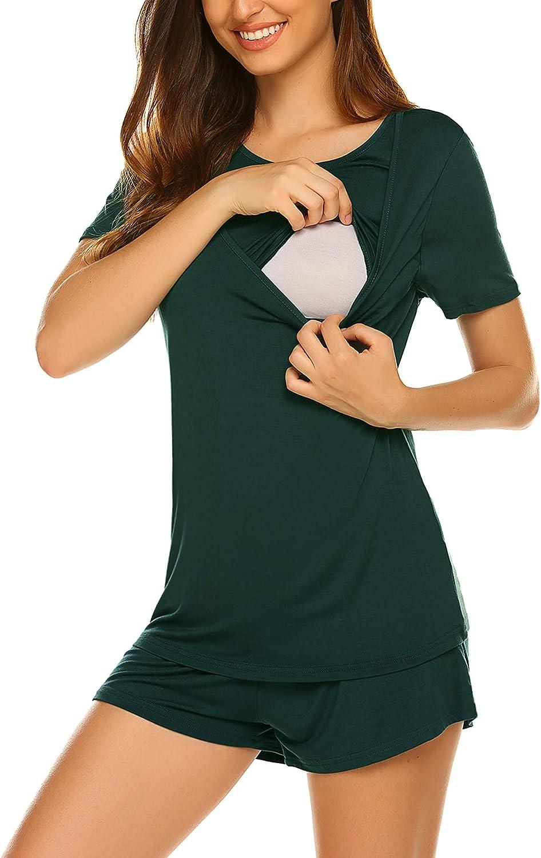 Unibelle Stillpyjama Umstandspyjama Still Schlafanzug Stillshirt und Hose kurz Sommer S-XXL