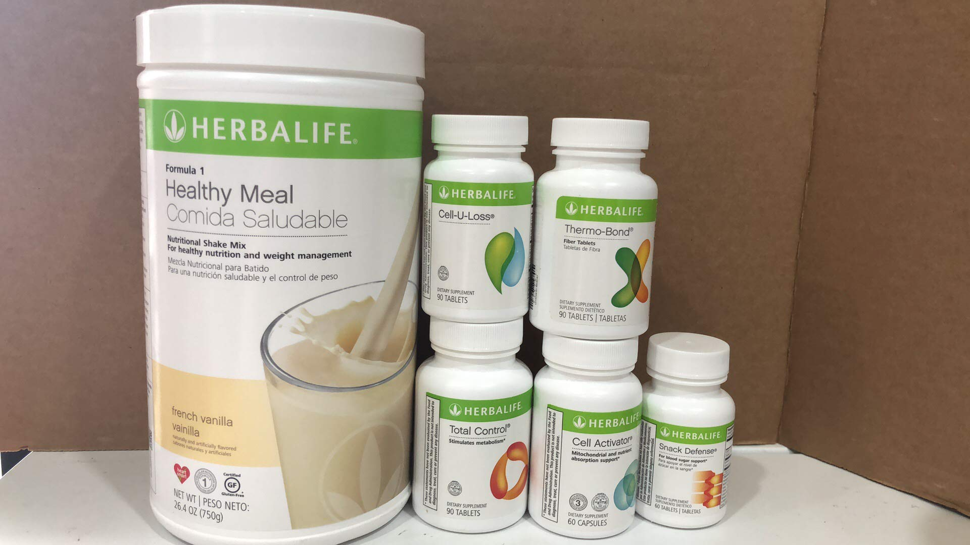 herbalife Healthy Meal Replacement, and Weight Loss Combination(French Vanilla 750g,Total Control,Cell-U-Loss,Snack Defense,Thermo-Bond,Formula 3 Cell Activator)