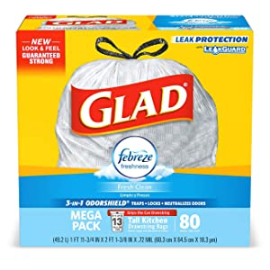 Glad OdorShield Tall Kitchen Drawstring Trash Bags - Febreze Fresh Clean - 13 Gallon - 80 Count