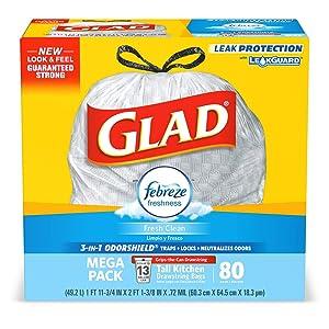 Glad OdorShield Tall Kitchen Drawstring Trash Bags - Febreze Fresh Clean - 13 Gallon - 80 Count