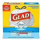 Glad Tall Kitchen Drawstring Trash Bags - OdorShield 13 Gallon Grey Trash Bag, Febreze Fresh Clean - 80 Count