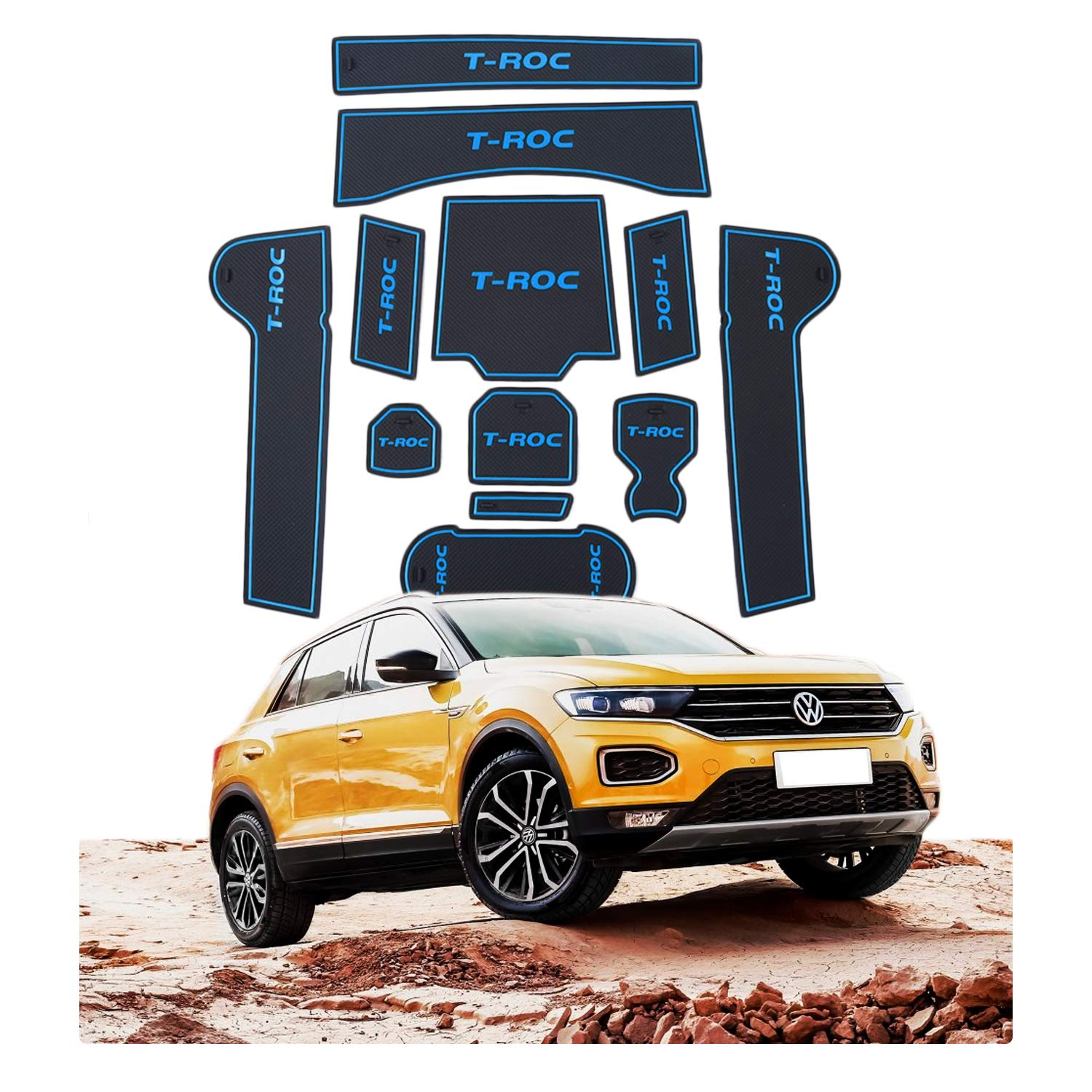 YEE PIN Car Door Nut Anti Slip Pad Compatible with Volkswagen VW T-ROC SUV 2017-2019 Car Interior Water Cup Storage Box Non-Slip Mat Rubber Mat Non-Slip Mats