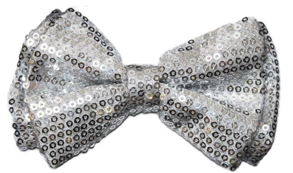 Pre-tied Bow Tie in Coool Brand Gift Box- Silver Sequins by Coool (Image #1)