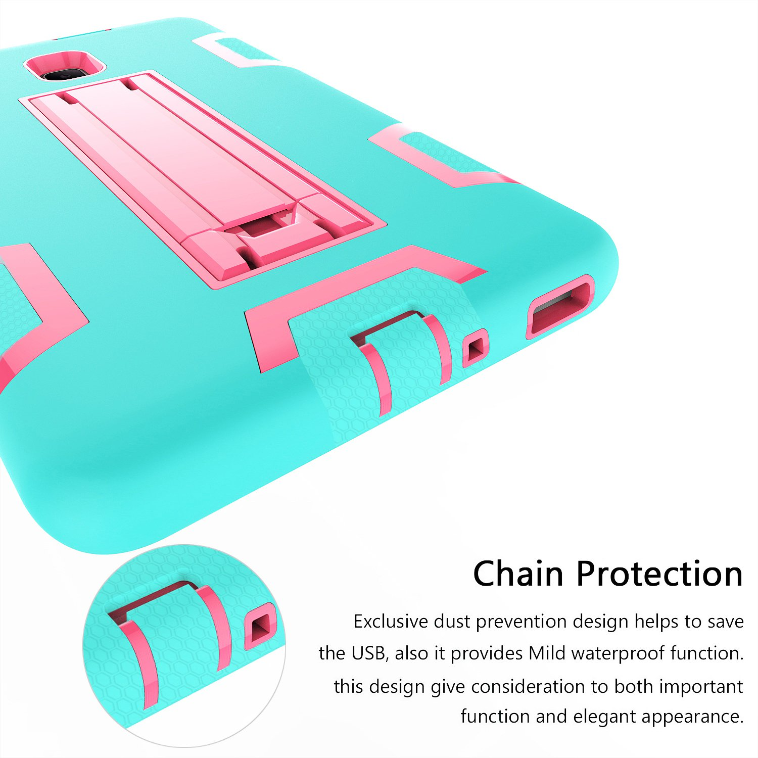 PPSHA Samsung Galaxy Tab A 8.0 2017 Case, High Impact Armor Heavy Duty Hybrid Shockproof Protection Cover Built With Stand for Galaxy Tab A 8.0 (SM-T380/T385) 2017 Release (Teal+Rose) by PPSHA (Image #7)