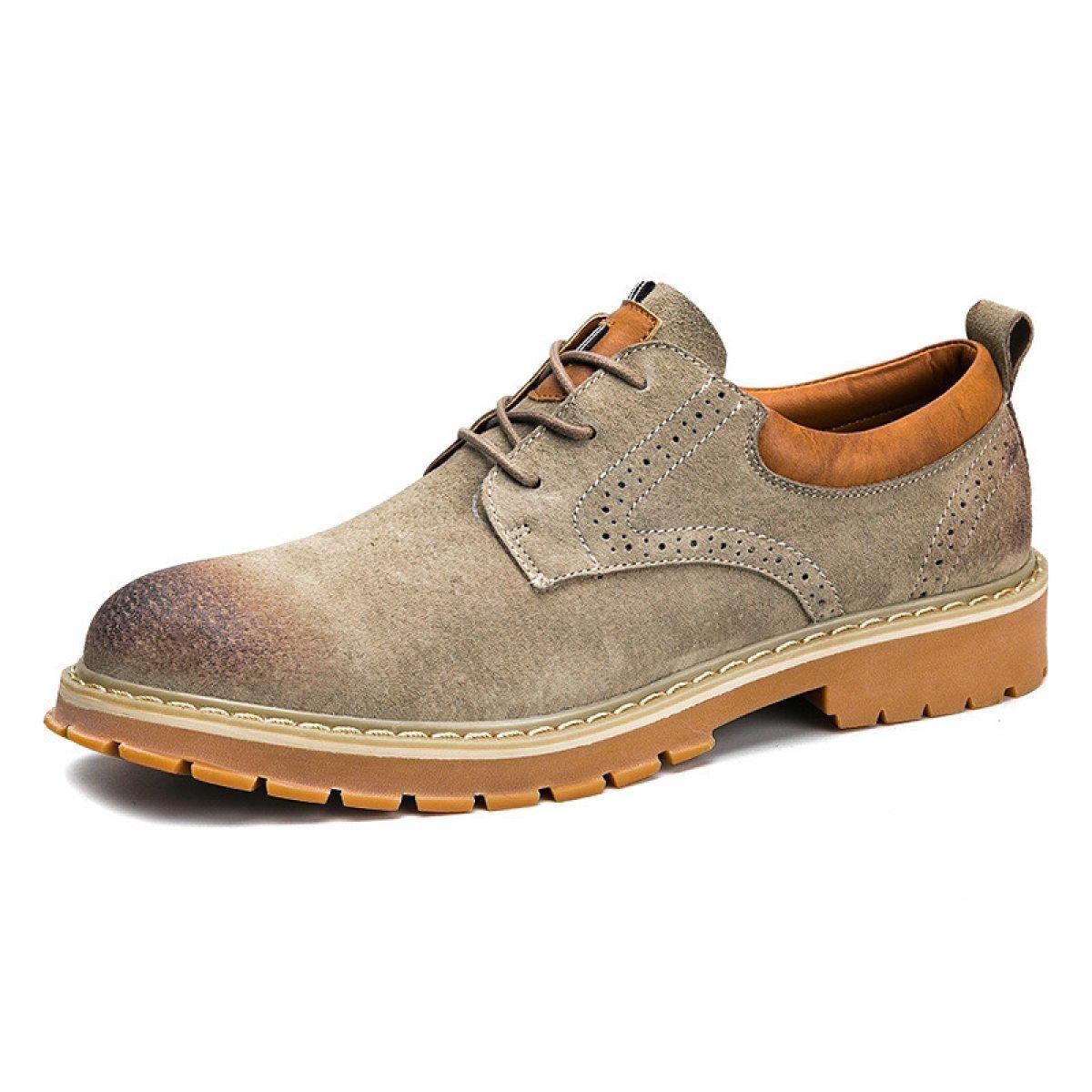 Herbst Und Winter Koreanische Version Retro Leder Massen Schuhe Farbe Retro Version Werkzeug Schuhe England Männer Freizeitschuhe Khaki 0473b3