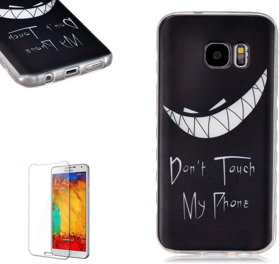 Samsung Galaxy S7 Funda [Regalos gratis protector de pantalla],Funyye Gel de silicona Funyye suave ultra fina de la historieta TPU Lovely (Don't Touch My Phone:No toque mi teléfono) (Sonrisa maligna)