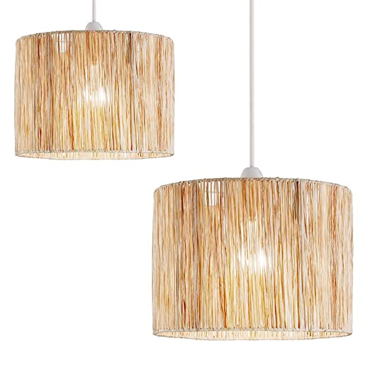 2 x raffia wicker drum shaped pendant lamp shades amazon 2 x raffia wicker drum shaped pendant lamp shades mozeypictures Gallery