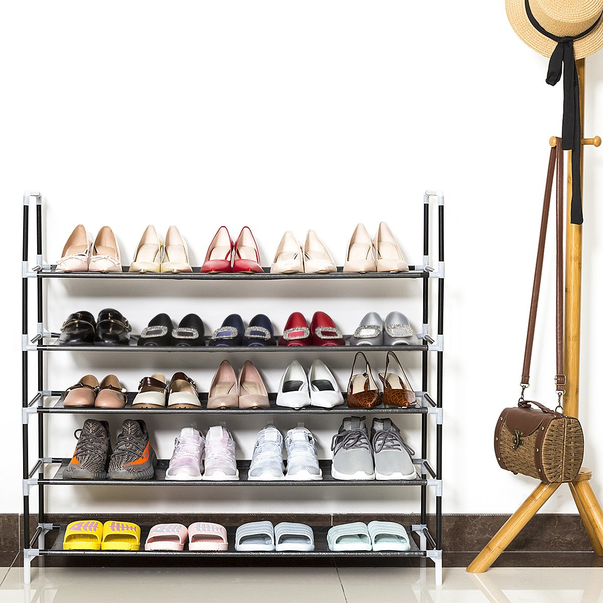 WISHPOOL 5 Tier Shoe Rack for Women Men Space Saving Shoe Tower Organizer Cabinet Black Holds 20-25 Pair of Shoes 39\'\'L