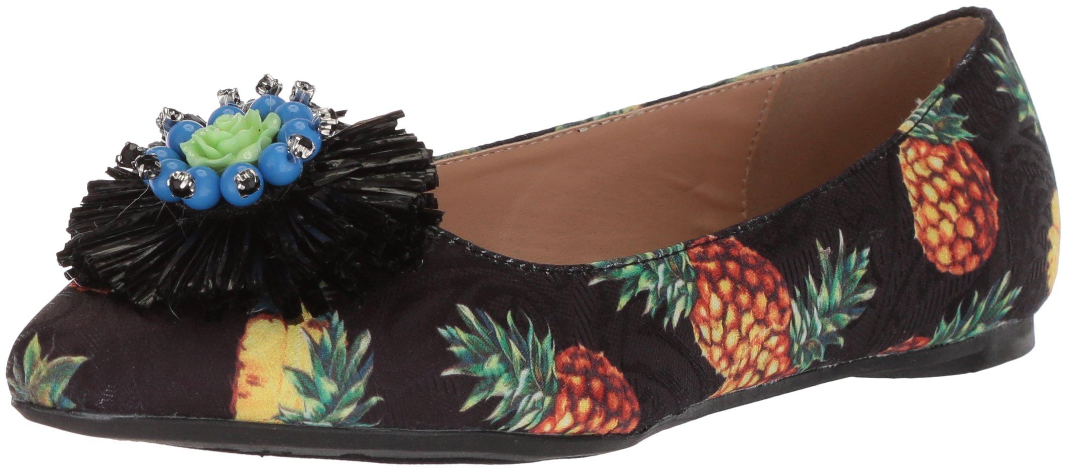 Penny Loves Kenny Women's Aurora Ballet Flat, Black Pineapple, 12 Medium US