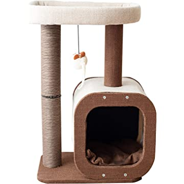 "Catry 24"" Cat Tree Tower with Paper Rope Covered Scratch Post Activity Center for Climbing Relaxing and Playing Natural Jute Fiber Pet Stand"