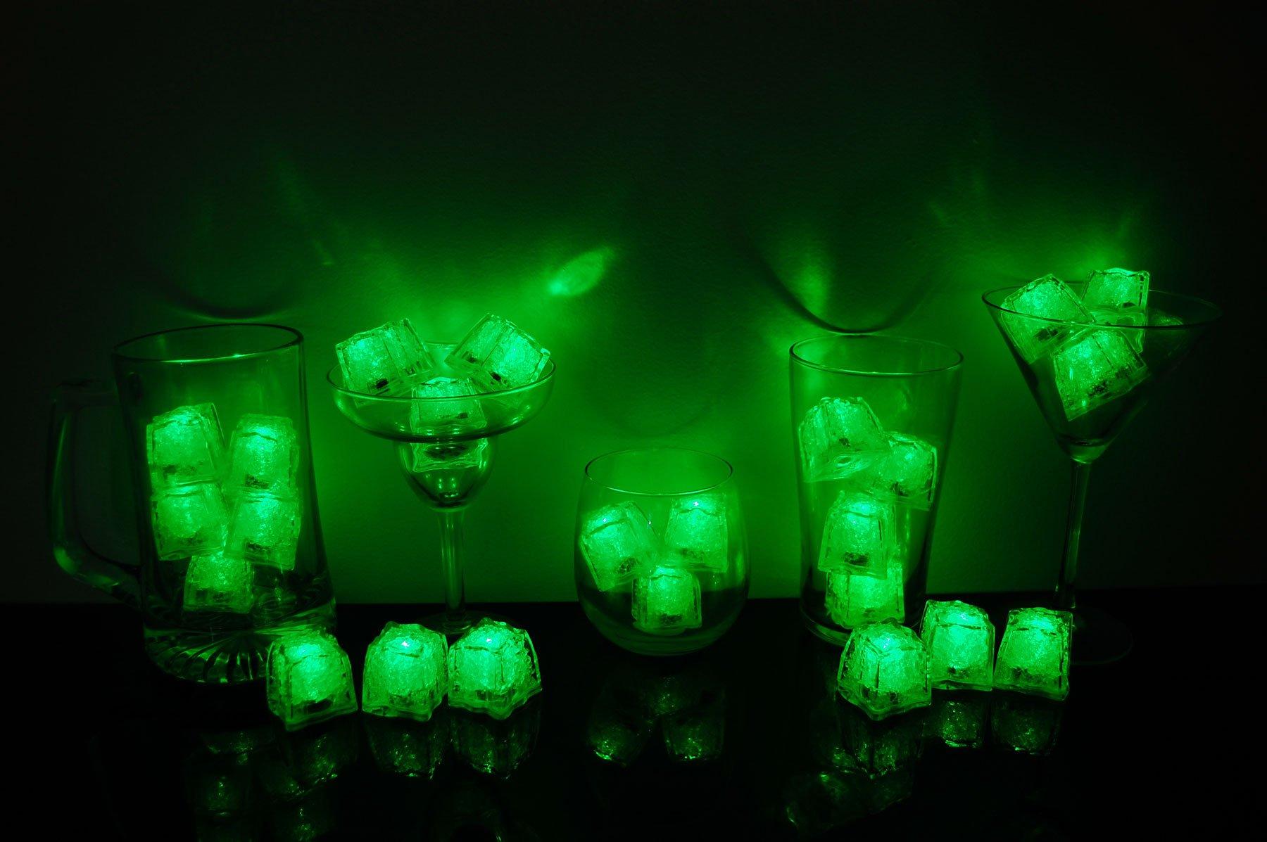 Litecubes Brand 3 Mode Green Light up LED Ice Cubes (24)
