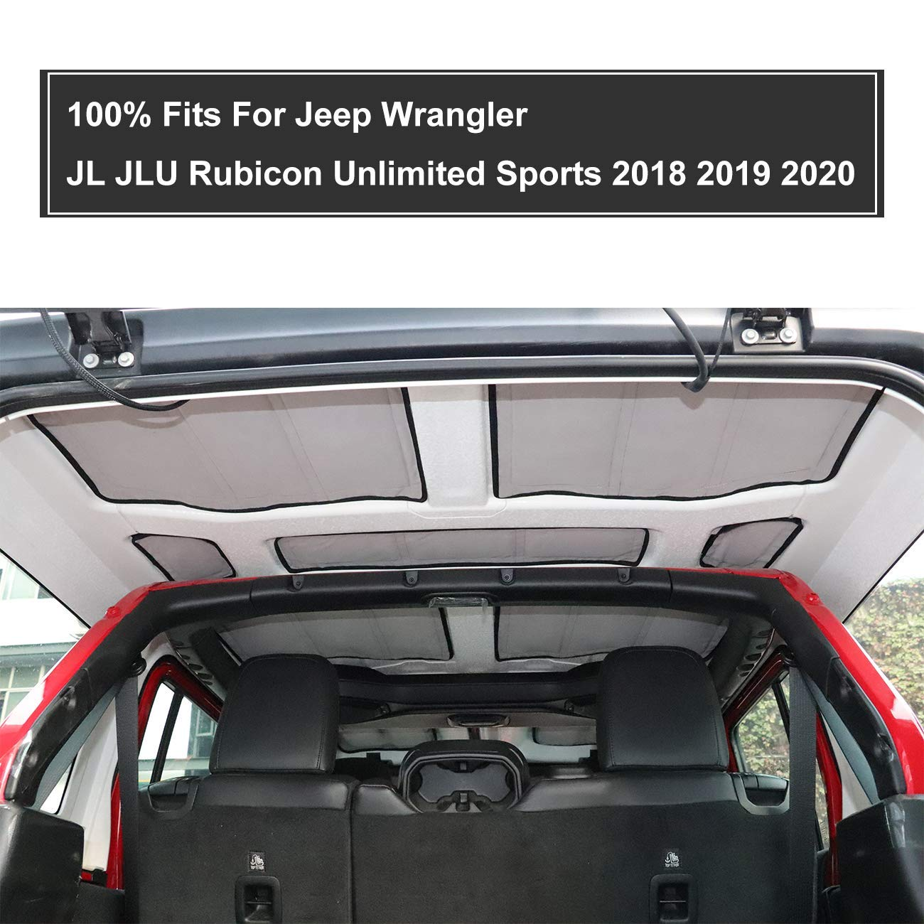 MFC 9 PCS Headliner Roof Heat Insulation and Sound Insulation Cotton Kits For Jeep Wrangler JL Interior Accessories 4-Door 2018 2019 2020