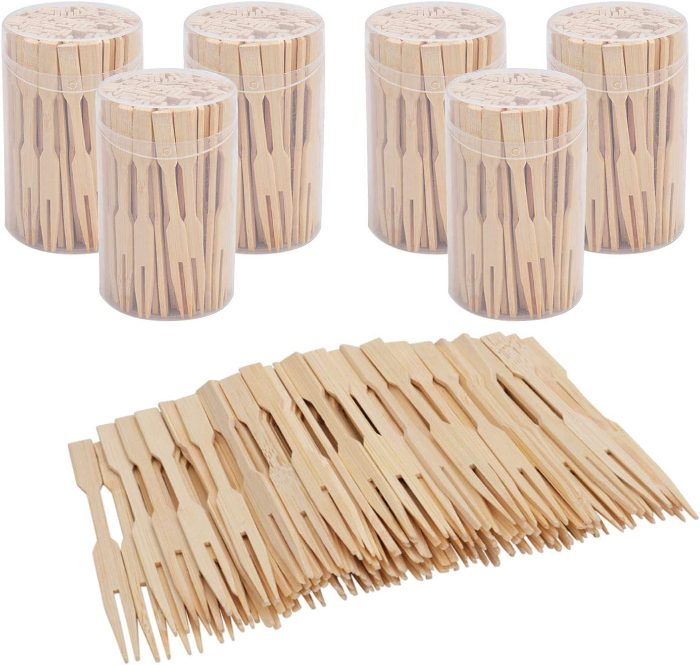 Lawei 6 Pack 600 Pieces Mini Bamboo Forks - 3.5 Inch Bamboo Fruit Picks Cocktail Picks Mini Food Picks for Appetizer, Cocktail, Fruit, Pastry, Dessert