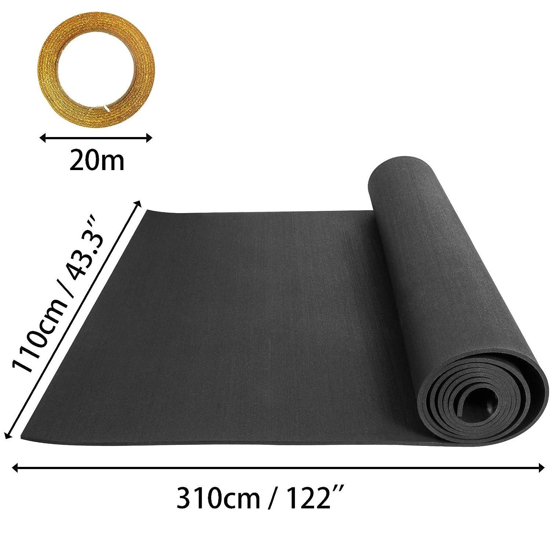 Husuper Suelo para Gimnasio PVC Equipo Alfombrilla de Suelo 9.5mm Pavimento de Caucho Rollo Goma Antideslizante Alfombra Caucho 6.35mm Suelo de Gimnasio 4 x 10FT Color Negro