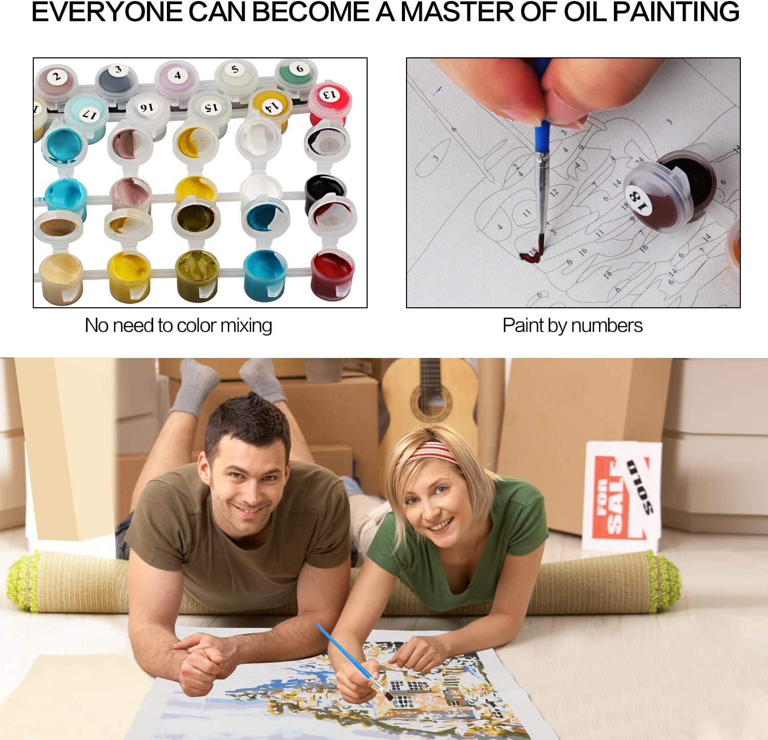 LS2237 Adults Beginner Generies DIY Oil Paint,Brushes Kits Paint by Numbers for Adults 18.5*21.6inch Acrylic Painting Gifts for Kids Students