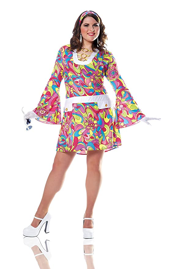 Hippie Costumes, Hippie Outfits Costume Culture Womens Plus-Size Groovy Chic Costume $44.99 AT vintagedancer.com