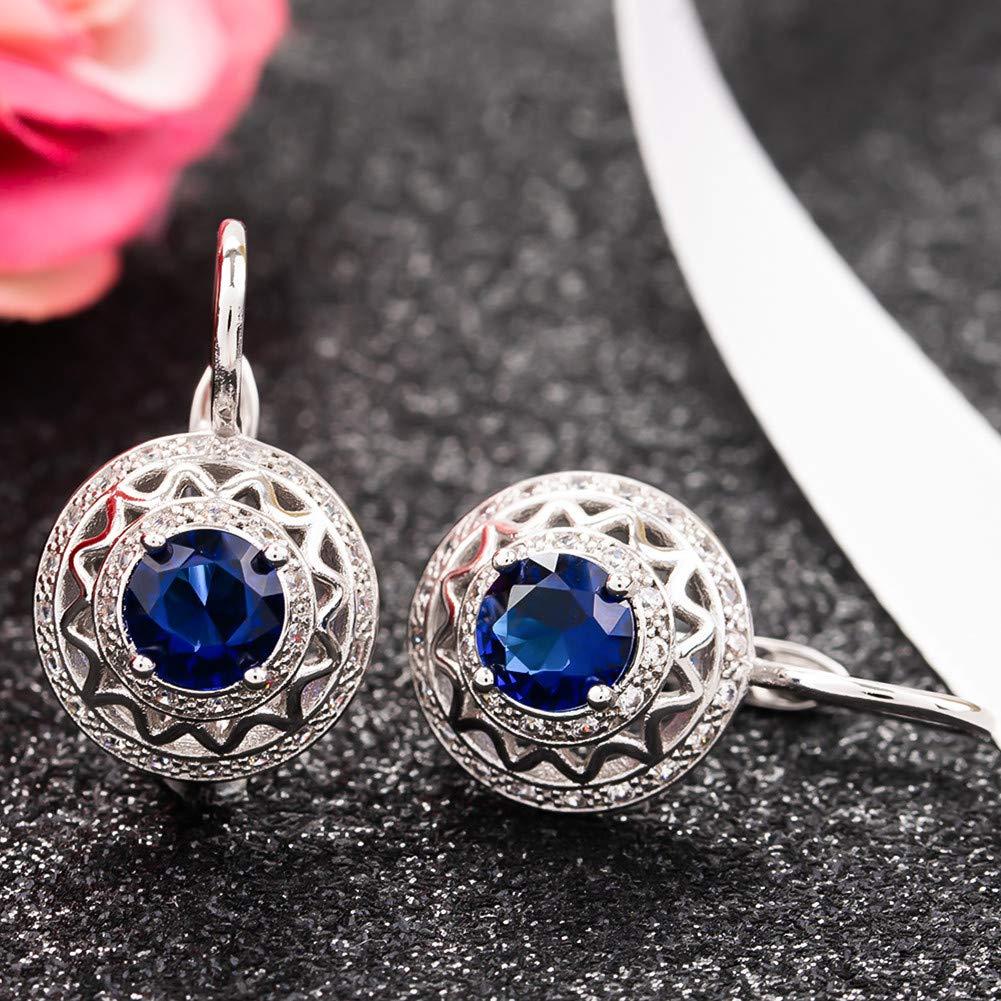 Big Crystal Rhinestone Loop Earrings for Women Girls Party Sapphire DHMK Gold Plated Cubic Zirconia Hoop Earrings