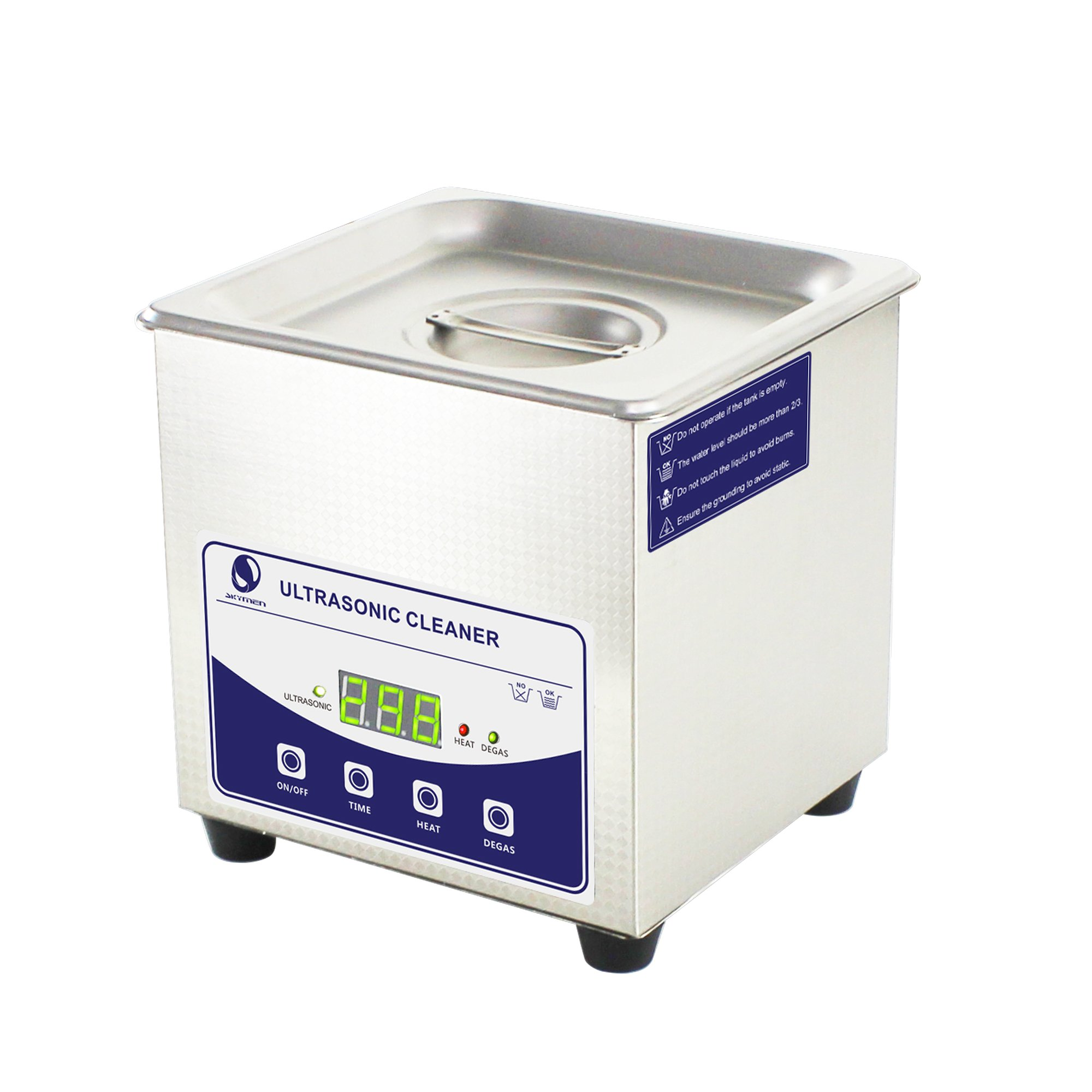 Skymen Ultrasonic jewelry Cleaner 0.34gal/45.77oz for Glasses Tattoo Dental cleaning with Digital Timer/Degas/Heating