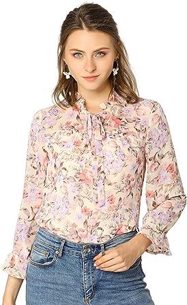 Allegra K Blusa Top Estampado Floral Cuello De Volantes Corbata Manga Larga para Mujer: Amazon.es: Ropa y accesorios
