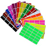 Color coding labels Rectangle florescent neon 1.57 inch x 0.75 inch Rectangular stickers in 15 colors great for file folder tabs ( 40mm x 19mm ) - 300 Pack by Royal Green
