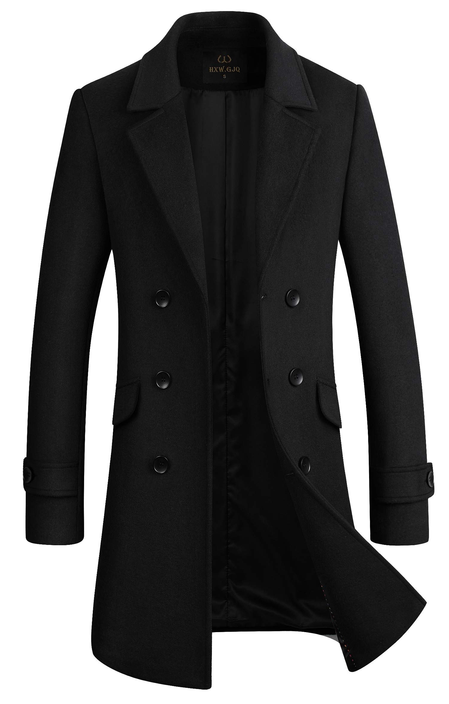 HXW.GJQ Men's Stylish Wool Blend Double Breasted Long Pea Coat (Black, Large) by HXW.GJQ