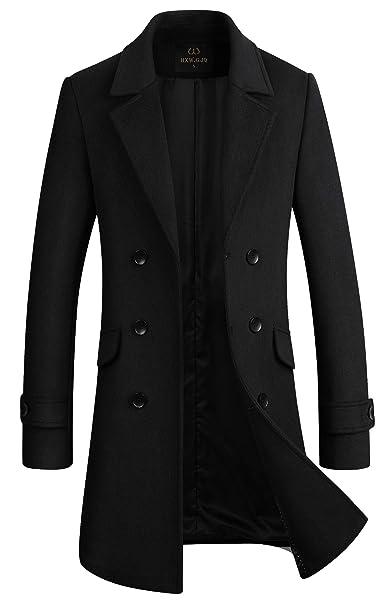 Amazon.com: HXW.GJQ - Abrigo largo para hombre, mezcla de ...