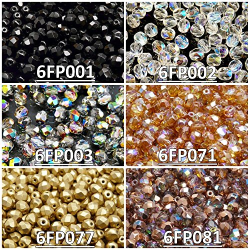 300 Beads 6 Colors Czech Fire-Polished Glass Beads Round 6mm, Set 625 (6FP001 6FP002 6FP003 6FP071 6FP077 6FP081)