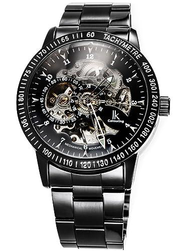 567c11fe8 Alienwork IK Mechanical Automatic Watch Men Women Watches for Boys Ladies  Stainless Steel Metal Strap Black