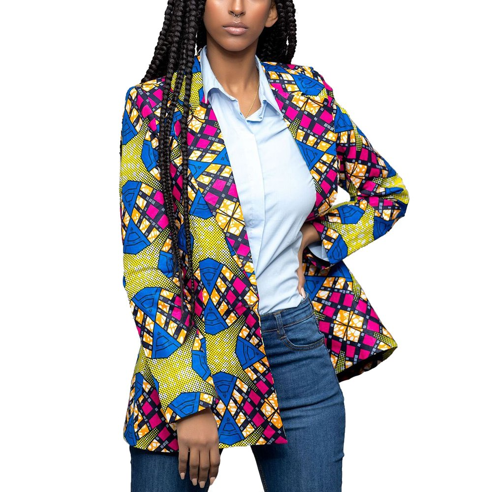 Lrud Women's Casual Long Sleeve Dashiki African Floral Print Blazer Jacket Coat Suits Blue S