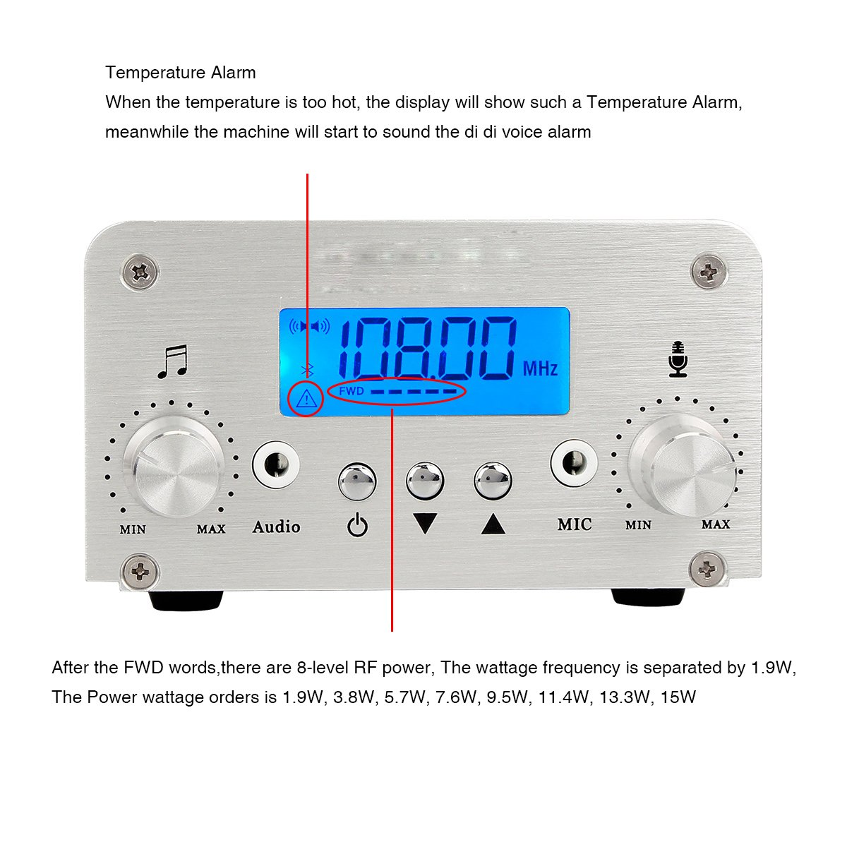 Vite Tivdio 5w 15w Wireless Fm Transmitter Dual Mode Long Range Mini Receiver Circuit Diagram Home Radio Stereo Station Pll Lcd With Antenna Silver Electronics