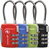 Fosmon TSA Approved Cable Luggage Locks, 3 Digit Combination with Re-settable, Easy to Read, Alloy Body and Release Button fo