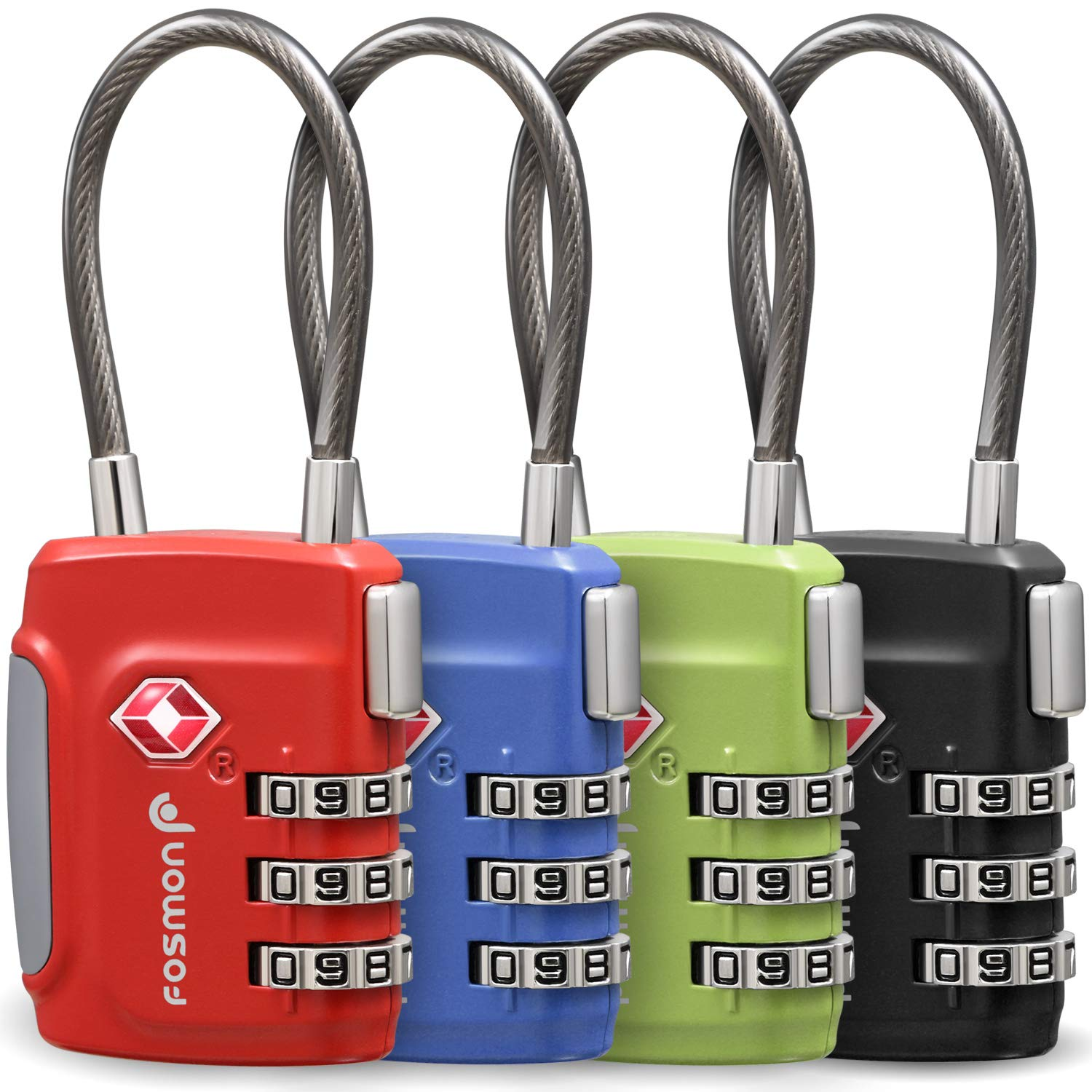 Fosmon TSA Approved Cable Luggage Locks, (4Pack) Re-settable Easy to Read 3 Digit Combination with Alloy Body and Release Button for Travel Bag, Suit Case & Luggage - Black, Green, Red and Blue