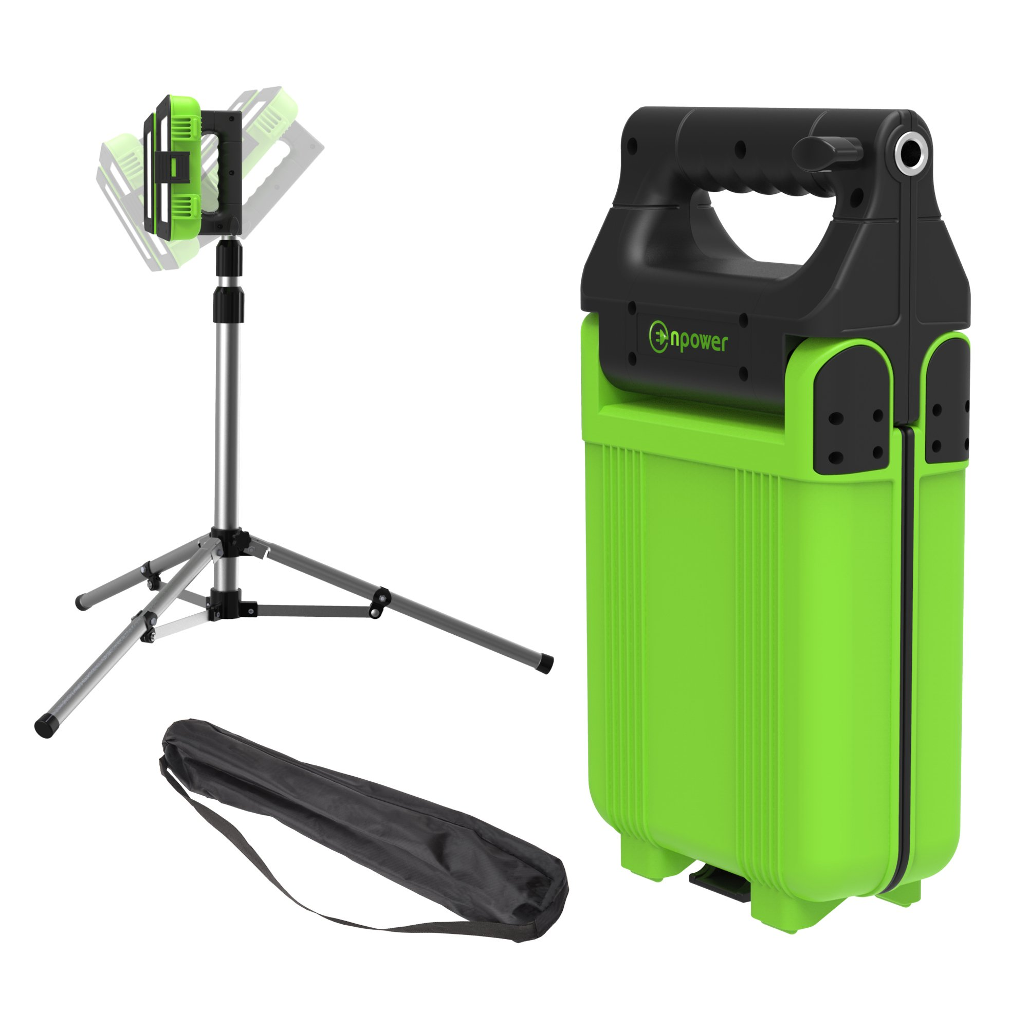 GoGlow LiteBook Bundle - Upgraded 2.0 TRIPOD INCLUDED - 30W Portable Rechargeable Day Light White Light (5000-5500k) Work Light, Camping, Garage or Auto Repair, Emergency (Green) by Enpower (Image #1)