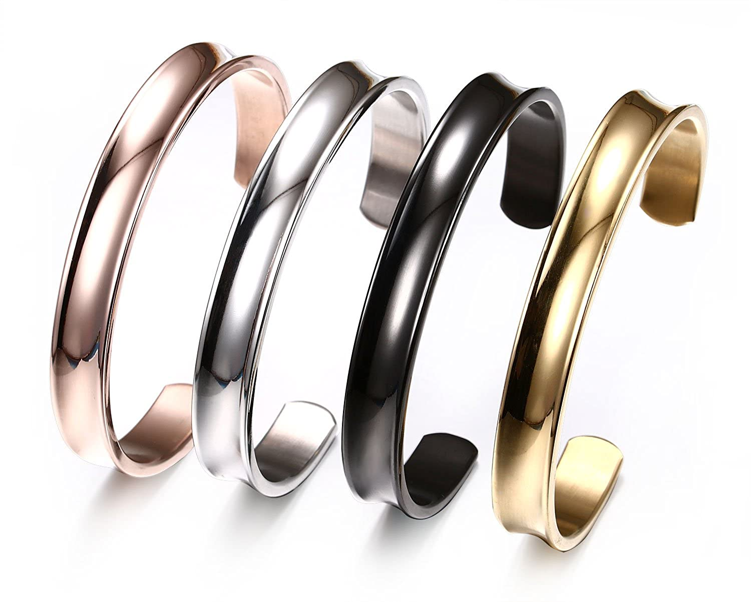 BBX 7MM 316L Stainless Steel Hairband with Grooved Hair Tie Bangle Bracelets for Women Grils,Set of 4PCS
