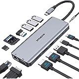 USB C Hub Docking Station,Type C Dongle Adapter to Dual 4K HDMI,VGA,Ethernet,3 USB3.0,2 USB2.0,100W PD,USB C DT Port,SD/TF Ca
