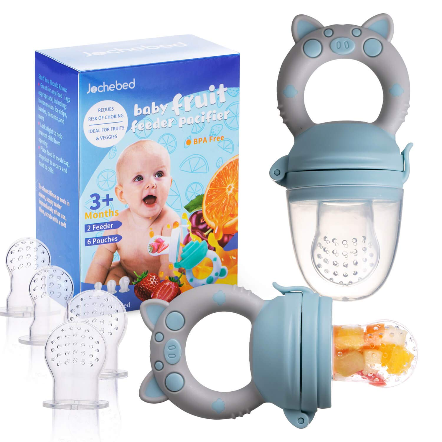 Baby Fruit Food Feeder Pacifier - Fresh Teething Pacifiers, Infant Fruit Teething Teether Toy for 3-24 Months, 6 Pcs Silicone Pouches for Toddlers & Kids & Babies, Piggy Handle 2-Pack (Blue & Gray)
