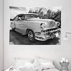 """Ambesonne Vintage Tapestry, 50s 60s Retro Classic Pin up Style Cars in Hollywood Movies Image Artwork, Wide Wall Hanging for Bedroom Living Room Dorm, 80"""" X 60"""", Black White and Gray"""