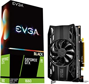 EVGA GeForce GTX 1660 Black Gaming, 6GB GDDR5, Single Fan 06G-P4-1160-KR